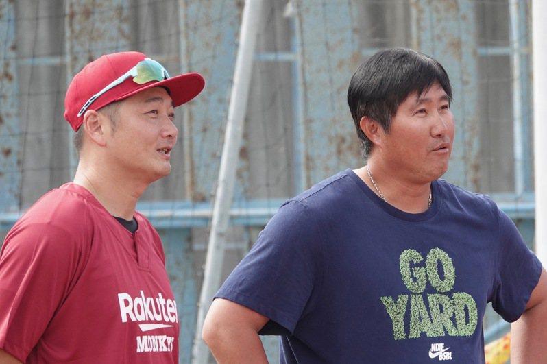 「貓仔」許銘傑(右)將回中職樂天桃猿隊擔任一軍投手教練。 聯合報系資料照