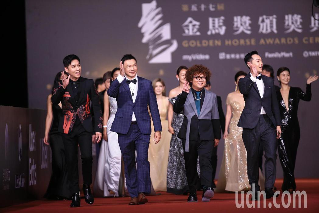 第57屆金馬頒獎典禮,黃信堯(左二)、納豆(右二)、鄭人碩(左一)走星光大道。記