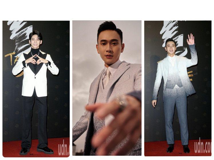 林柏宏、劉冠廷在一片黑色系的西服中特別閃亮。圖/記者陳立凱攝影、LV提供