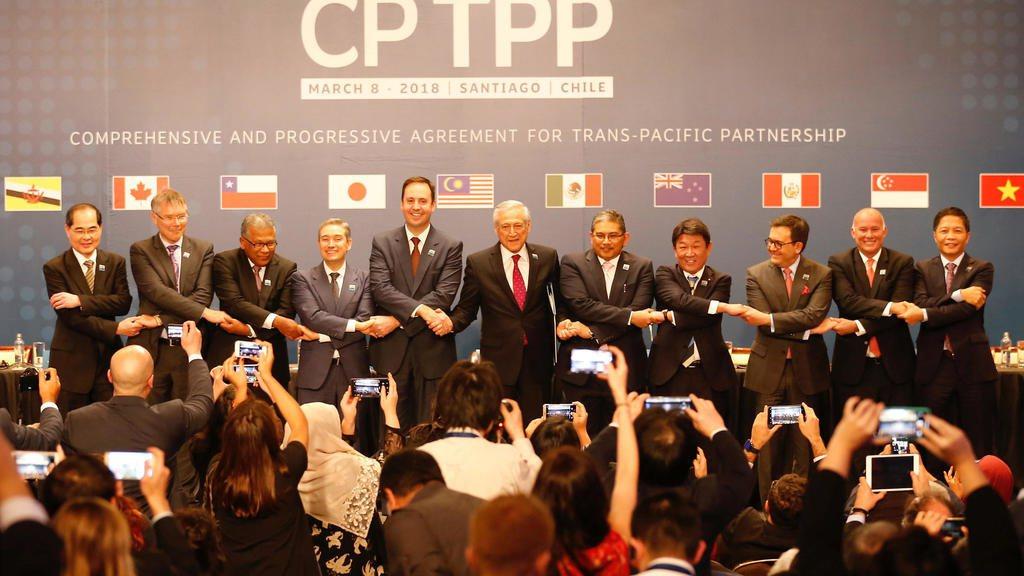 """2018年3月8日,""""全面與進步跨太平洋夥伴關係協定""""(CPTPP)11國代表在..."""