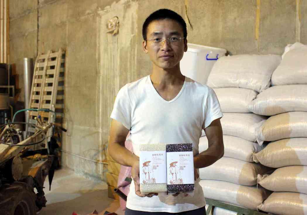 39歲青農莊登傑在彰化芬園鄉種植1甲多的無毒稻田,透過消費者預購支持。記者林敬家...