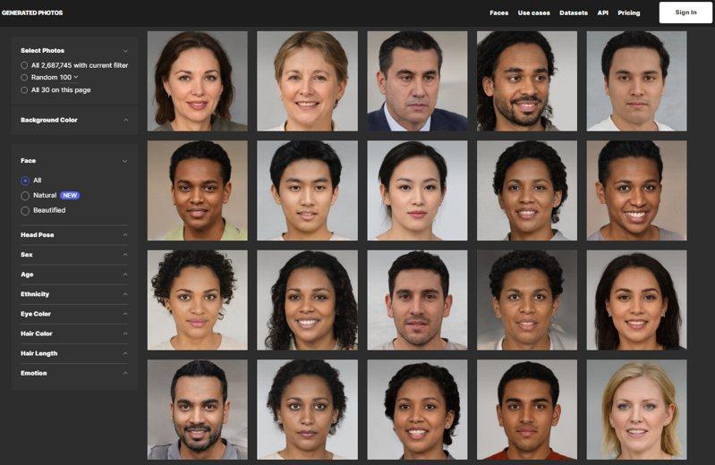 人工智慧系統創造的臉孔,這些都是不存在的假人,但普通人難辨真假。圖/取自Generated Photo網站
