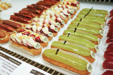 巴黎Éclair de Génie店內外型華麗、口味豐富的閃電泡芙。 圖/Yin...