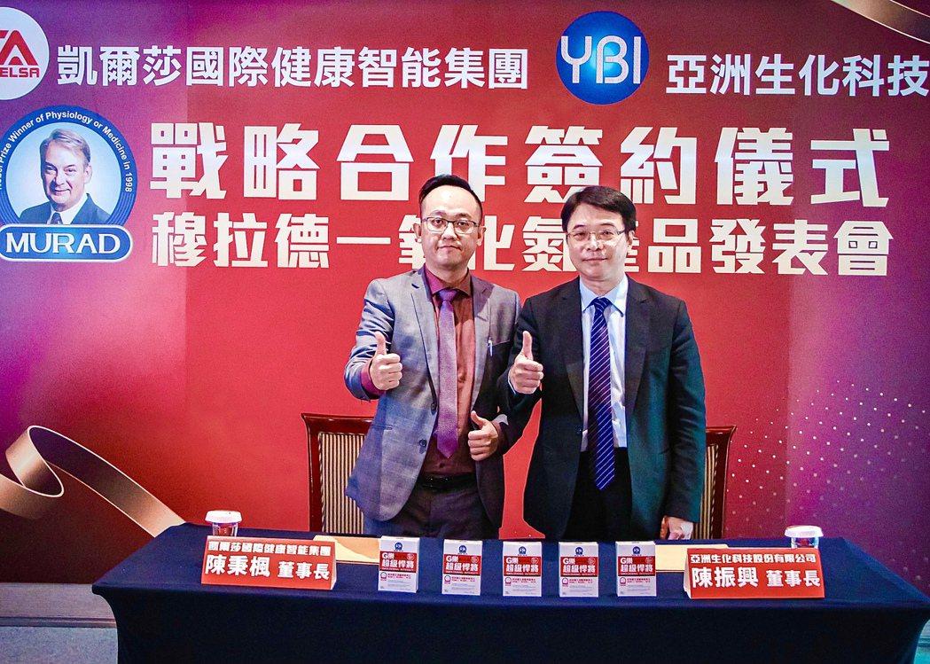 (左)凱爾莎國際健康智能集團董事長陳秉楓與(右)亞洲生化科技董事長陳振興醫師。