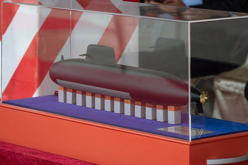 圖為潛艦國造「設計階段」實體縮模。 圖/取自總統府 Flickr