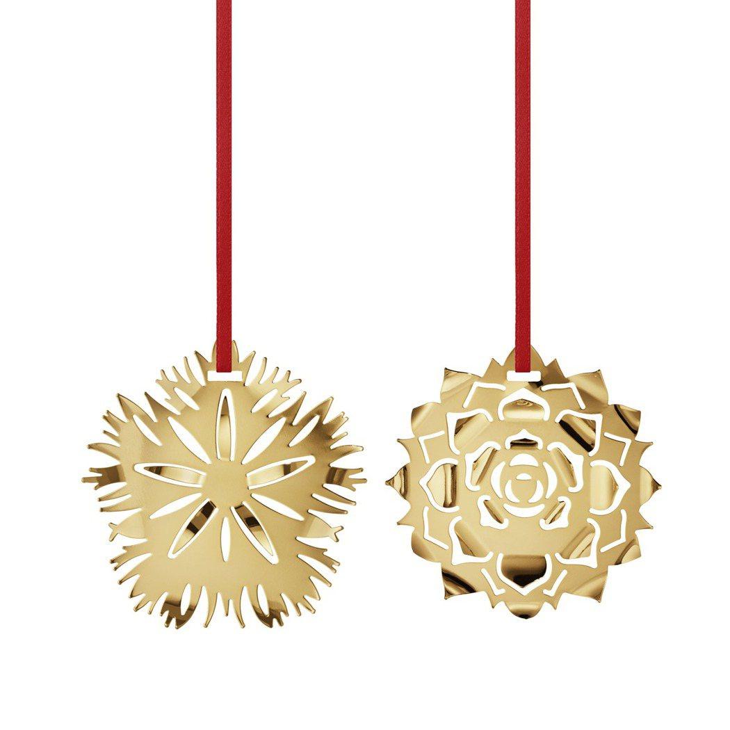 喬治傑生CHRISTMAS系列聖誕裝飾黃銅鍍18K金石竹玫瑰冰花,1,300元。...