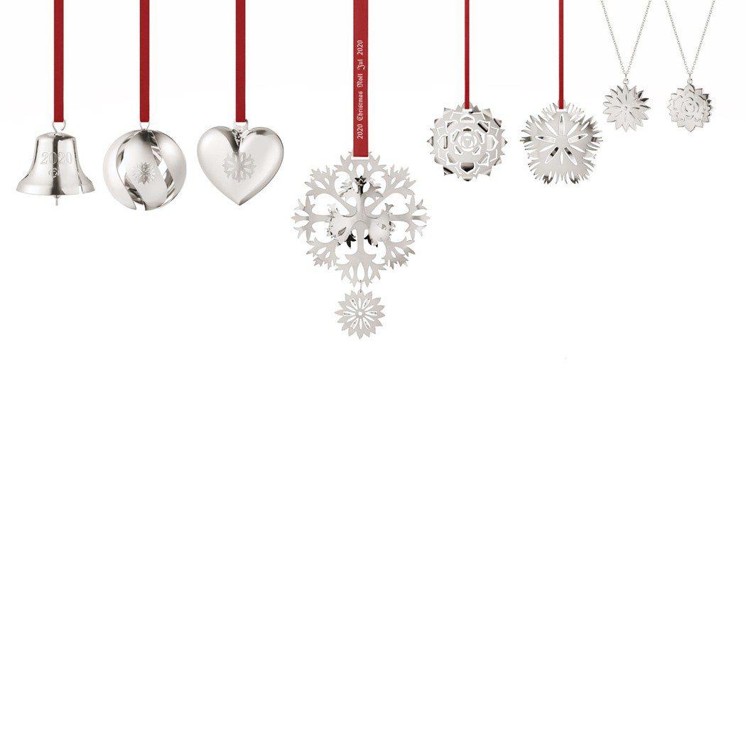 喬治傑生CHRISTMAS系列2020聖誕裝飾八件組黃銅電鍍鈀鈴鐺、球、心形,6...
