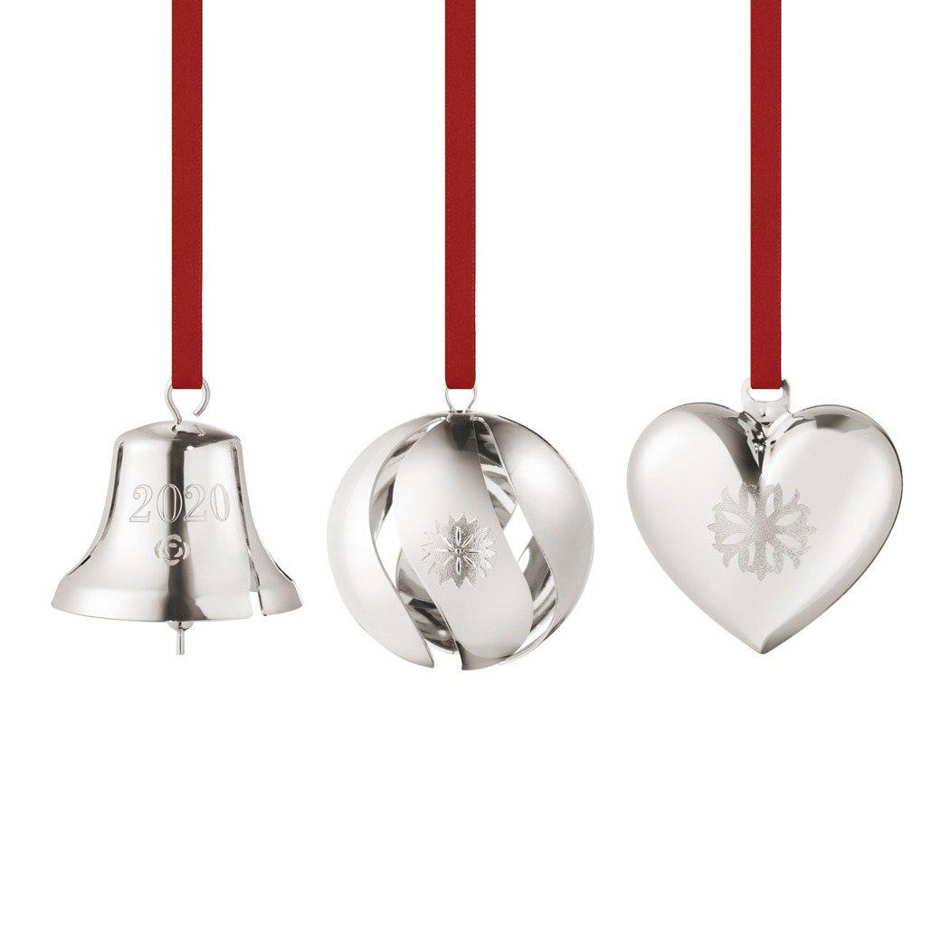 喬治傑生CHRISTMAS系列 2020聖誕裝飾三件組,黃銅電鍍鈀鈴鐺、球、心形...