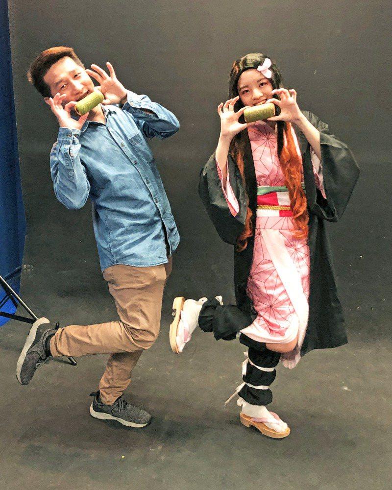 台北城市科大烘焙系和數媒系學生聯手發揮創意,cosplay「鬼滅之刃」。圖/台北城市科大提供