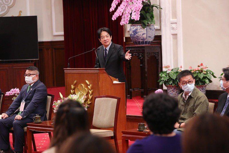 副總統賴清德今天下午接見「第28屆幼鐸獎得獎人及中華幼兒教育策進會陪同人員」。圖/總統府提供