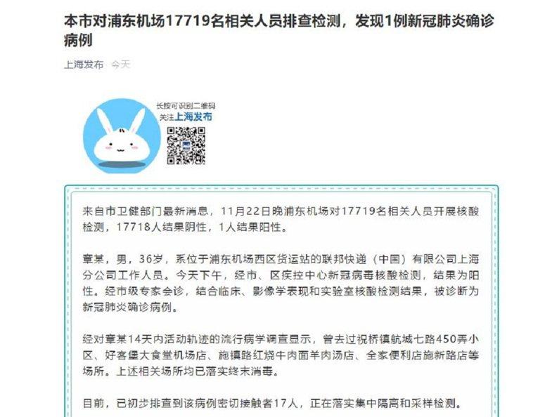 上海浦東機場萬人核酸檢測,發現1例確診病例。圖/上海發布截圖
