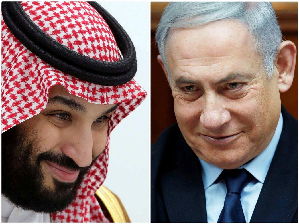 沙國王儲穆罕默德(左)和以色列總理內唐亞胡(右)對建交各有盤算。(路透)