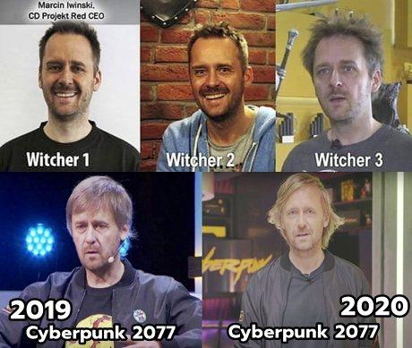 網路上流傳從《巫師1》到2020年的馬爾欽·伊溫斯基照片對比圖