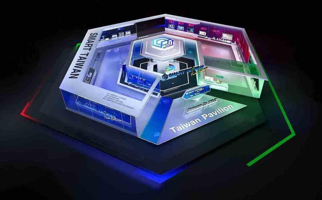 「臺灣形象館」採用3D設計,呈現如實體展館一般攤位擺設。 中華軟協/提供