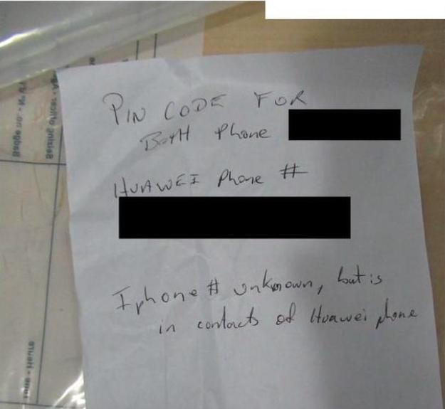 寫有孟晚舟手機密碼的紙條。央視新聞網