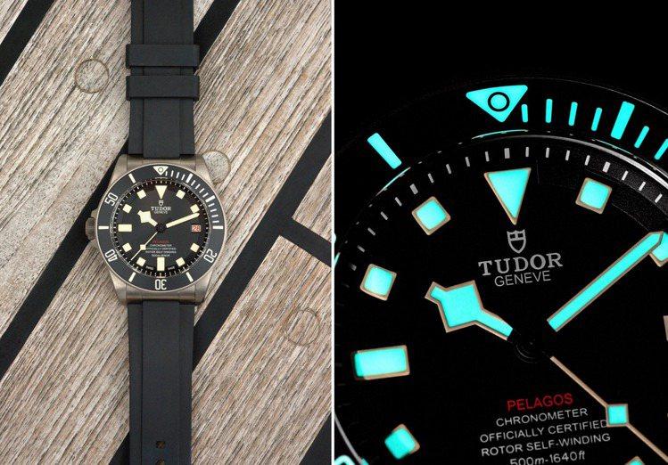 無論低光源、惡劣情況下,依然能清楚辨讀時間的TUDOR Pelagos腕表。圖 ...