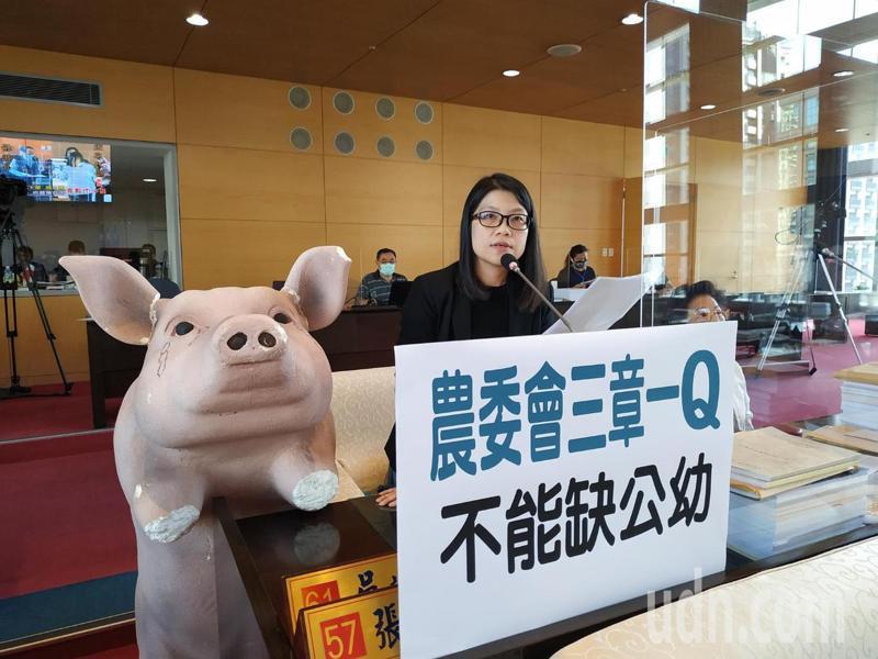 台中市議員張廖乃綸要求教育局向中央反映,把公立幼兒園、高中納入三章一Q的補助對象。記者陳秋雲/攝影