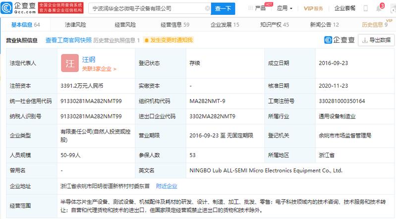 華為日前入股寧波潤華全芯微電子,這是華為在一年來投資的第17家半導體公司。企查查網