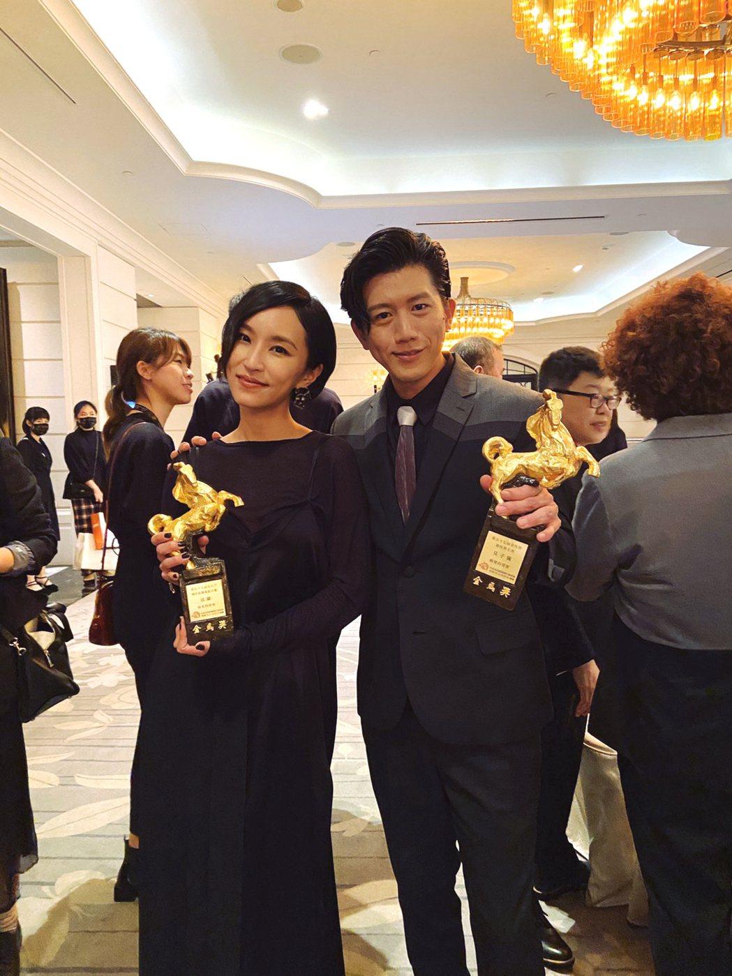 法蘭(左)、莫子儀以「親愛的房客」分別拿下金馬獎最佳原創電影音樂及男主角獎。圖/