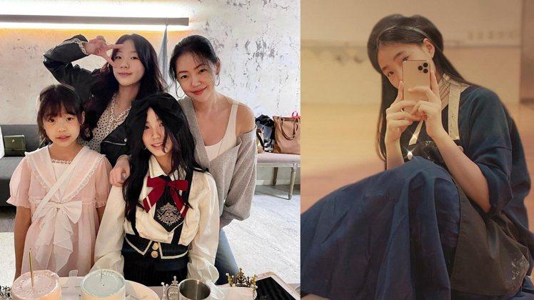 Lily(許韶恩)和媽媽、姊妹一起慶祝13歲生日。圖/擷自IG