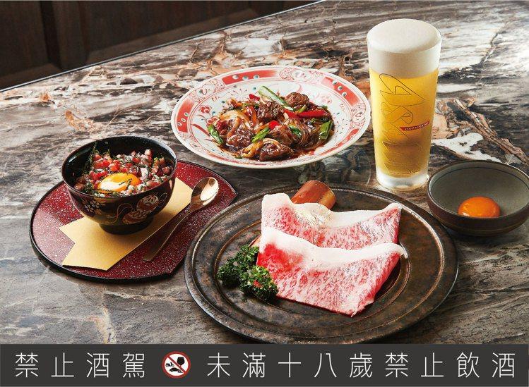 包含生牛肉韃靼,月見薄切,蔥爆橫隔膜與兩杯Asahi SUPER DRY經典辛口...