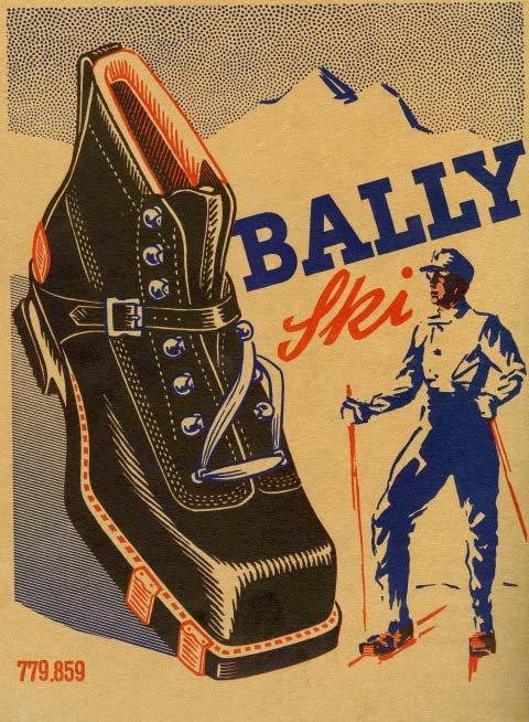 1956年冬季奧運會瑞士隊穿著BALLY打造的滑雪靴出賽。圖/BALLY提供