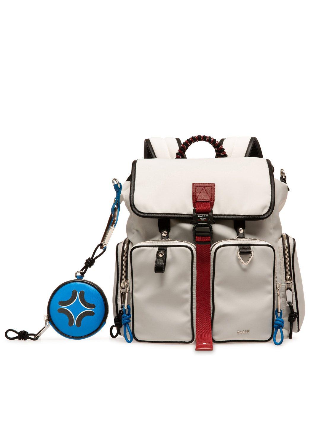 Peak Outlook環保材質白色後背包(附編織繩鑰匙鍊)、前側外袋可拆卸單獨...