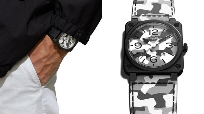 透過黑、白、灰三色,新款BR 03-92 White Camo腕表,散發雪地迷彩...