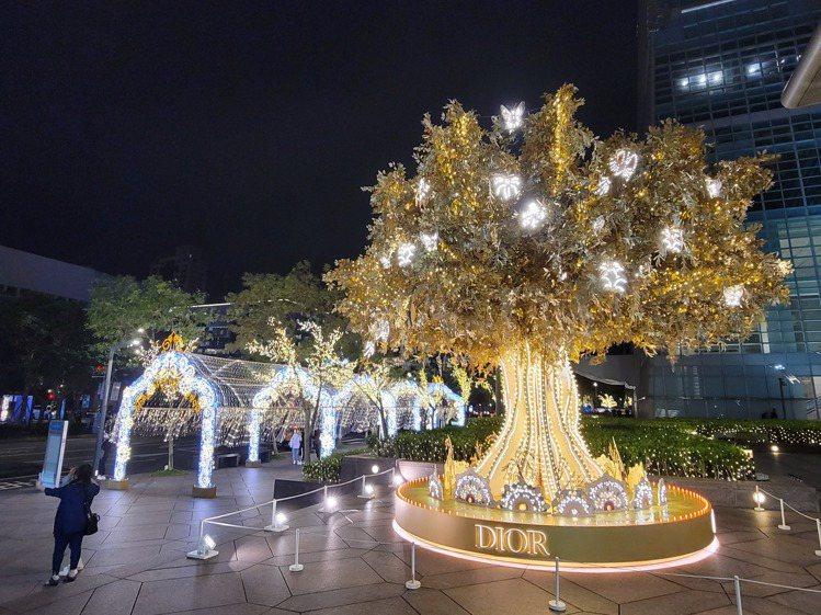 台北101松智大門Dior光雕藝術耶誕樹。圖/台北101提供