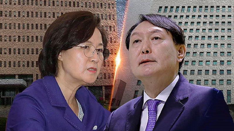 南韓法務部長秋美愛(左)與檢察總長尹錫悅(右)。圖/翻攝自imnews.imbc.com