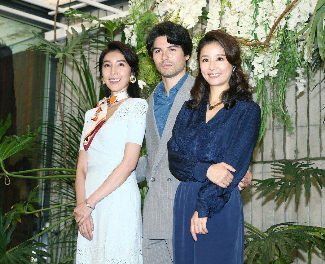 林心如(右起)、鳳小岳、楊謹華3人在「華燈初上」中有感情糾葛。記者曾原信/攝影