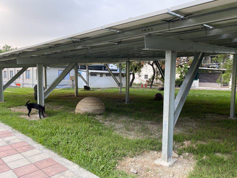 屏東市公所在永新公園綠地設置光電板引發爭議。記者劉星君/攝影