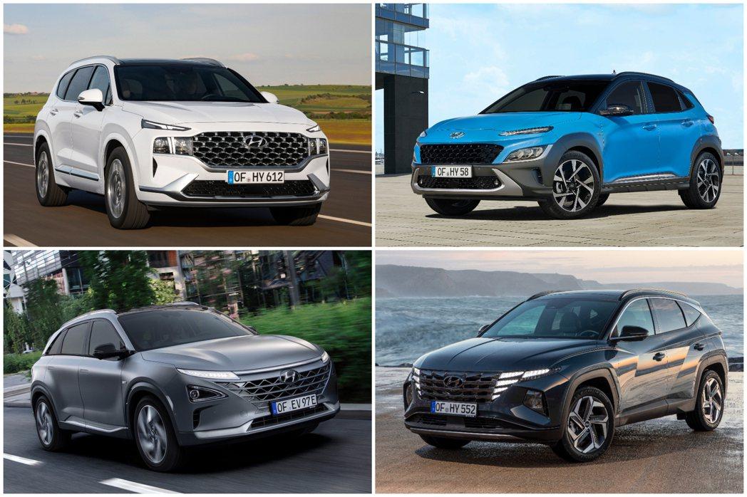 目前Hyundai在歐洲販售的休旅車包括了Santa Fe、Kona、Tucso...