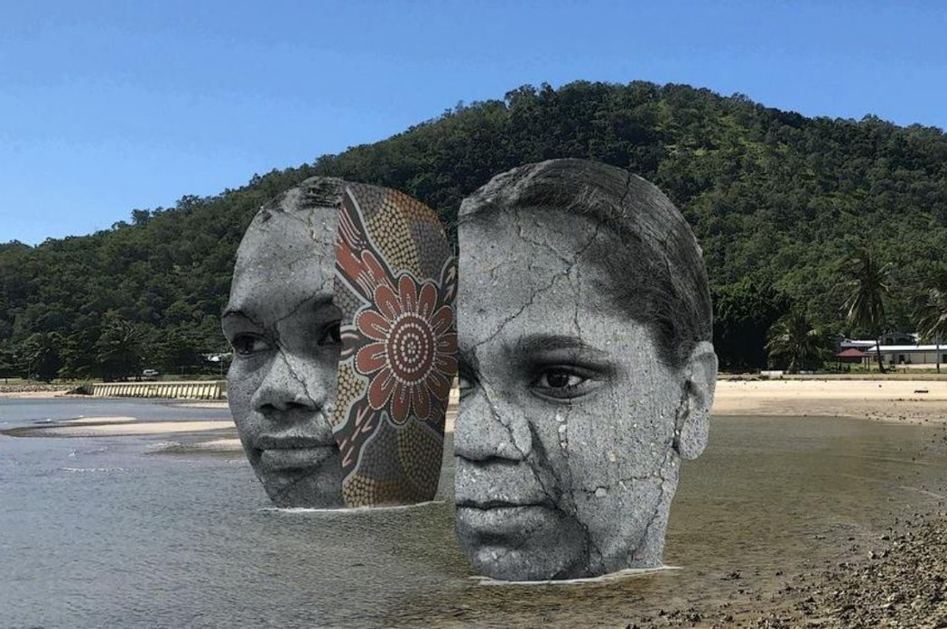 根據館方提供的照片,在棕櫚島海岸將設置大型原住民雕塑描繪其歷史故事,此舉引起當地...