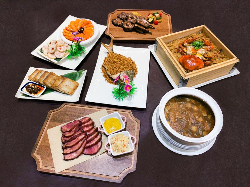 晶宴外帶常溫年菜,多款美味菜色自選,讓消費者便利過好年。晶宴會館/提供