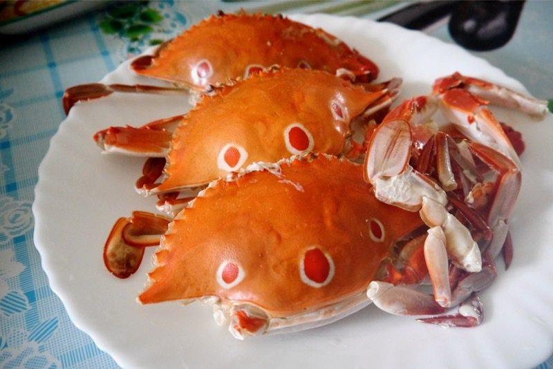野生三點蟹蒸熟後的橘紅色,誘人的美味。