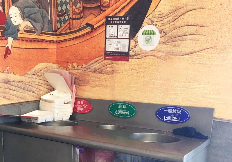台中市政府環境保護局推動「紙餐具循環友善計畫」,自助餐及便當店業者只要提供座位且使用紙製餐具,即可向環保局申請最高4000元紙餐具回收設施補助、2500元紅外線語音提醒設備費用,即日起申請至12月15日止。圖/台中市環保局提供