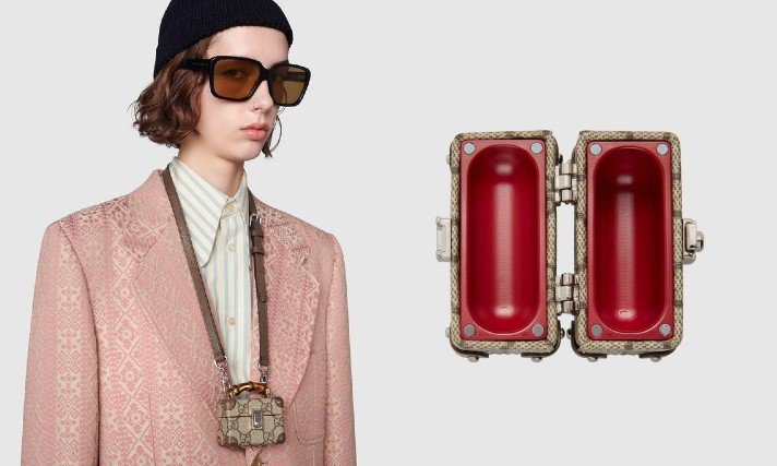 GUCCI推出縮小版竹節化妝箱AirPods Pro收納盒,36,500元。圖/...