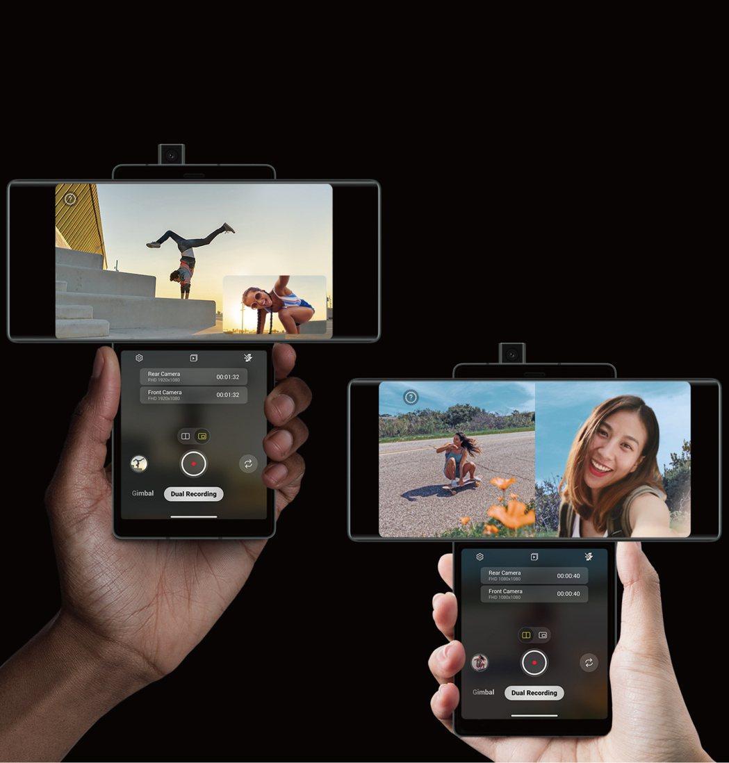 LG在台開賣旋轉雙螢幕5G手機LG WING。   LG/提供