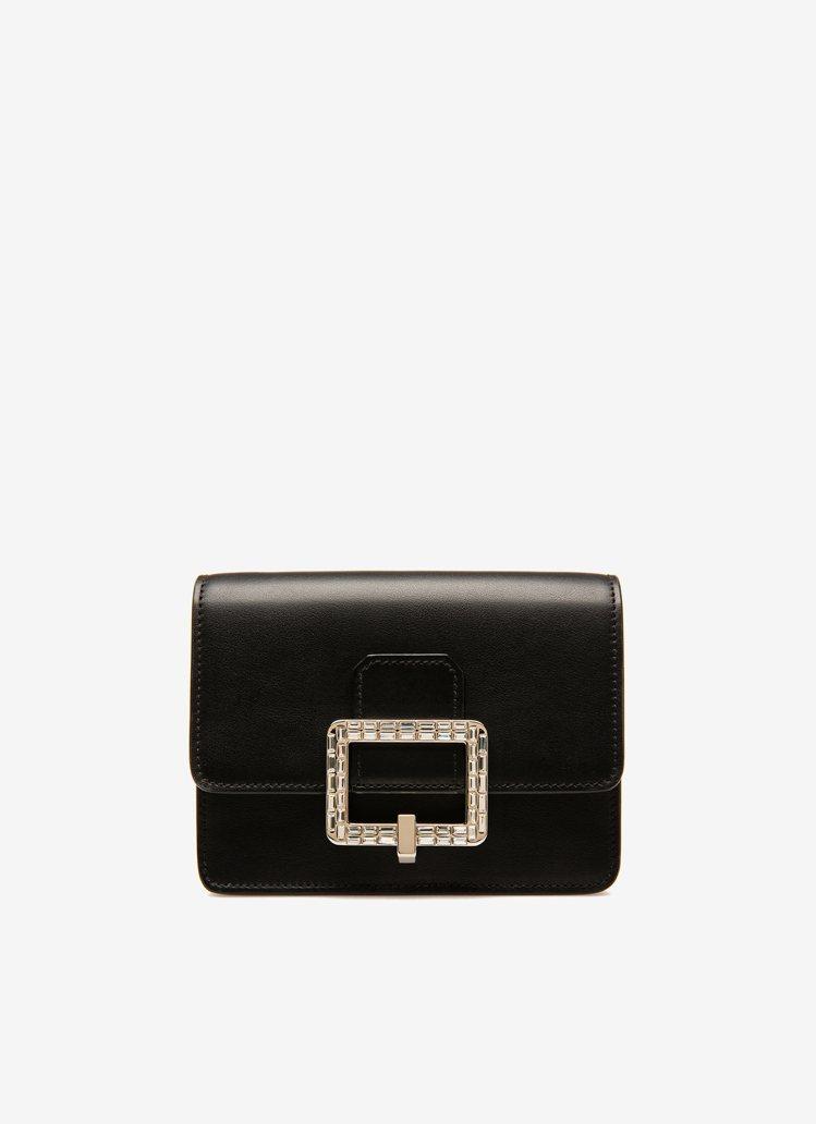 BALLY Janelle黑色牛皮水鑽方釦迷你肩背包,19,780元。圖/BAL...