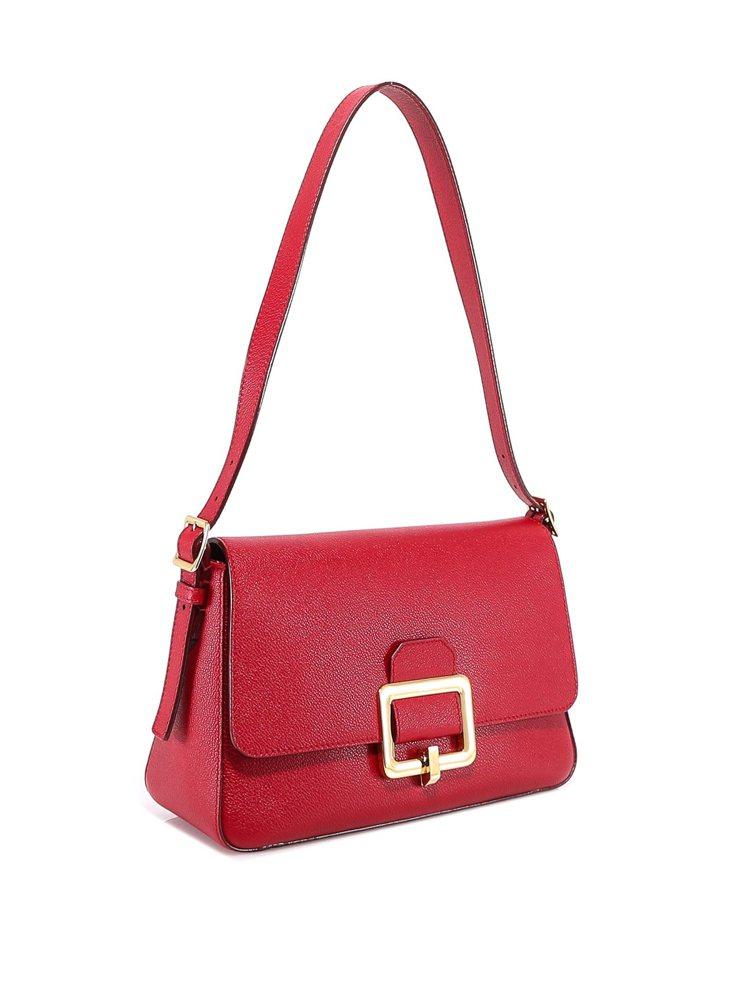 BALLY Janelle紅色牛皮金屬方釦大肩背包,48,980元。圖/BALL...