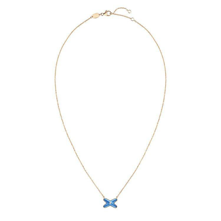 Jeux de Liens藍瑪瑙玫瑰金鑲鑽吊墜,55,000元。圖/CHAUME...
