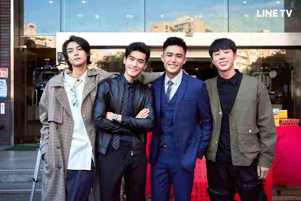 陳立安(左起)、涂善存、安俊朋、林嘉威出席「HIStory4-近距離愛上你」開鏡...