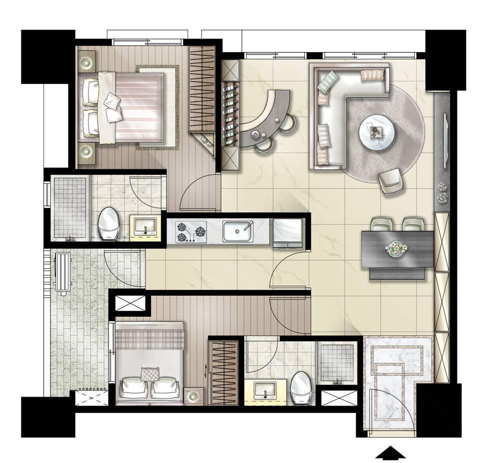 為兒女置產,可選擇36坪格局,室內可以自行設計成兩個獨立套房,起居獨立不會互相打...