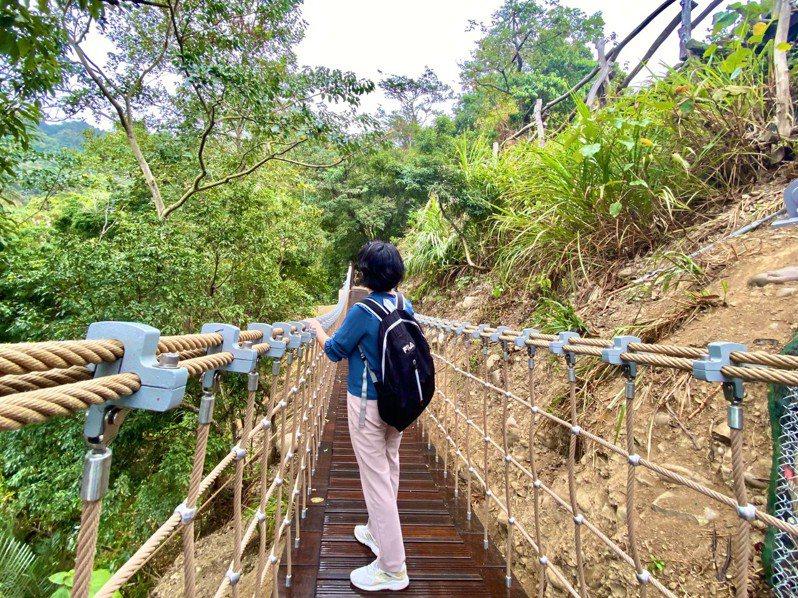 大坑3號步道新建吊橋,遊客可在吊橋上吹著徐徐微風欣賞山谷美景。圖/台中市政府觀旅局提供