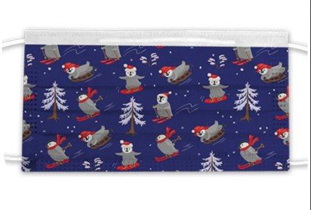 松果購物推出「艾司鉄克三層防護口罩」耶誕企鵝款,一盒10入原價299元、特價19...