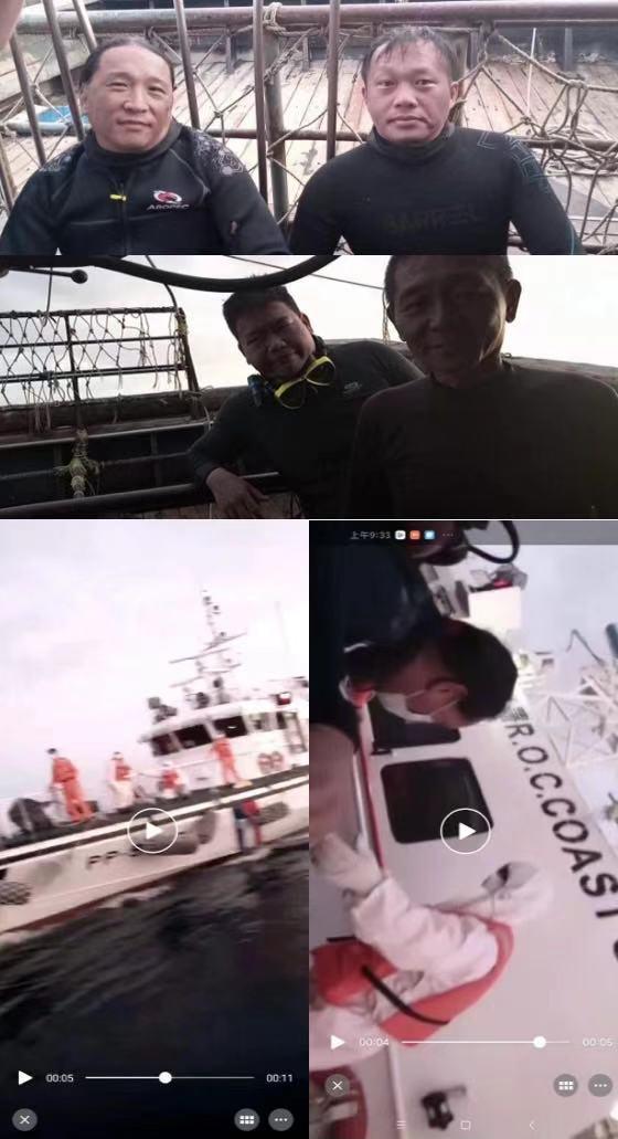 台灣科研潛水作業人員被救後在大陸漁船上安置,稍後再由海巡署接回。(國台辦)