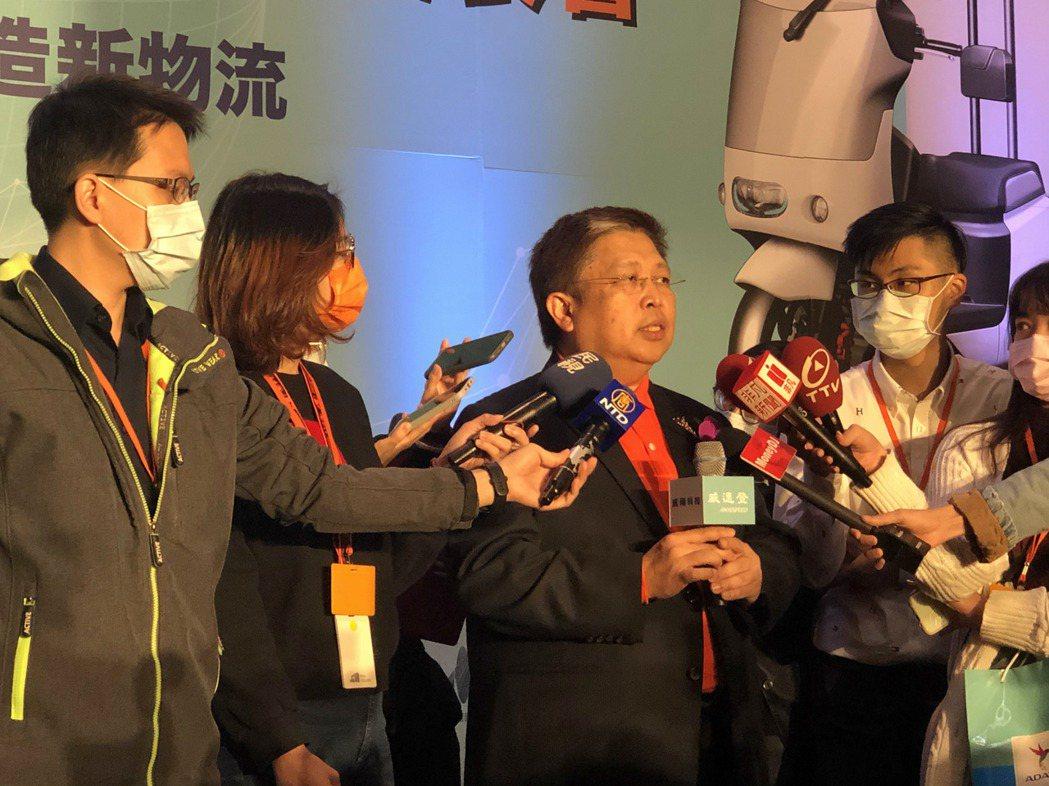 威剛董事長陳立白今日出席旗下威速登商用電動三輪車產品發表會。記者尹慧中攝影