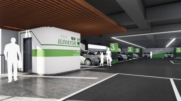 新竹市西大路停七平面停車場將改建為立體停車場,並引入智慧化停車系統。示意圖/市府提供