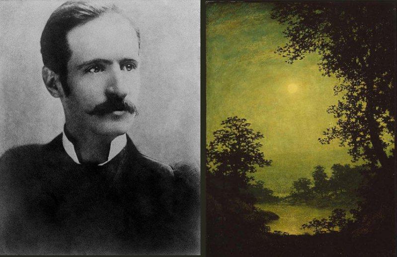 布雷克洛克是美國的風景畫家。在世界第一次大戰之前,他畫的售價超過任何還在世的美國畫家。那時候,布雷克洛克已經被診斷罹患早發型癡呆症,住在精神病院超過十年了。圖為攝於1870年的他與其畫作。擷自維基百科